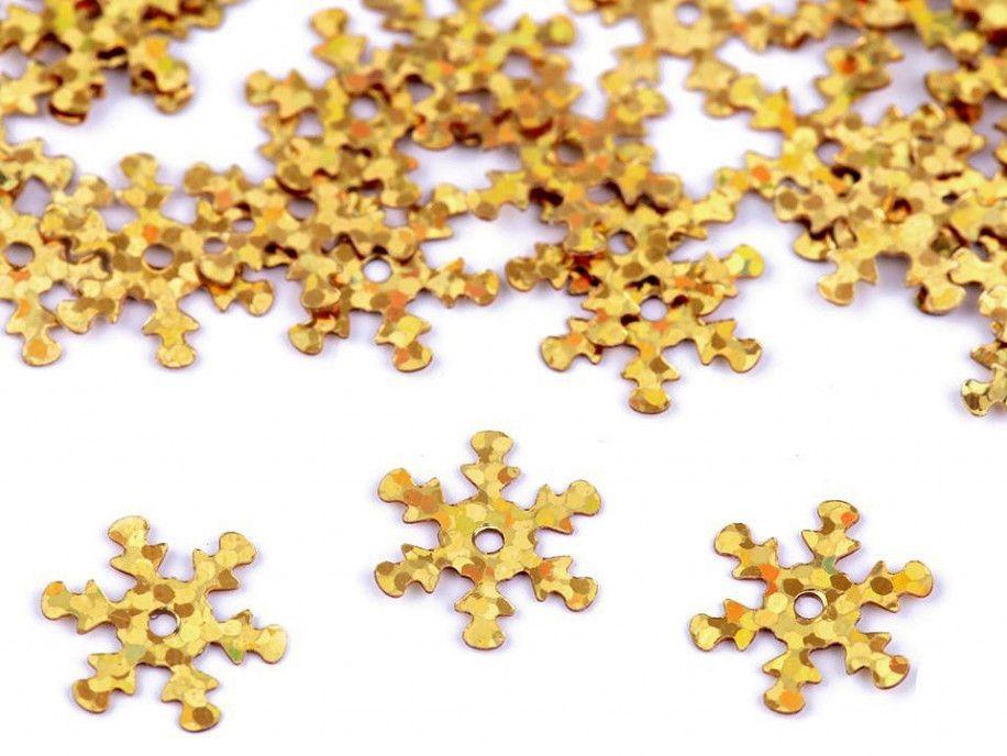 cekiny płatki śniegu złote hologram