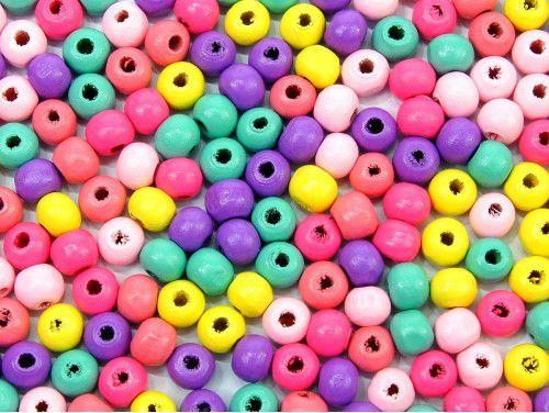 koraliki drewniane 8mm pastelowe mix 50g