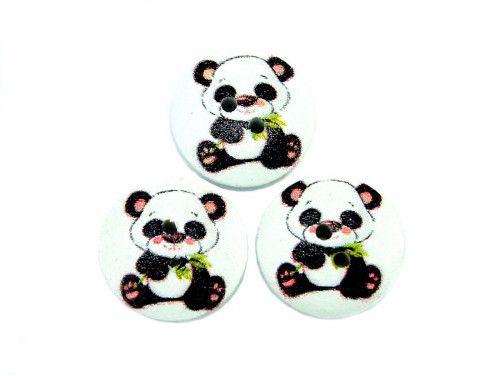 Guzik drewniany panda - 3 sztuki