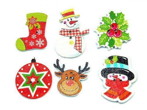 Guziki drewniane świąteczne - 6 sztuk