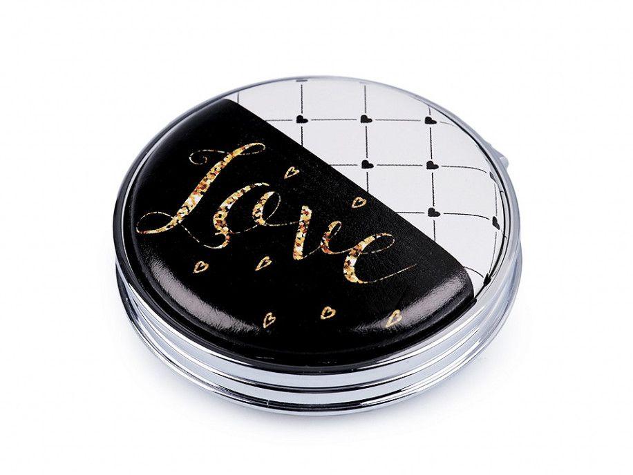 lusterko kieszonkowe okrągłe LOVE