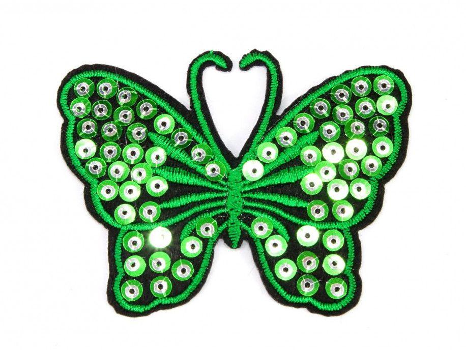 Aplikacja z cekinami MOTYL zielony