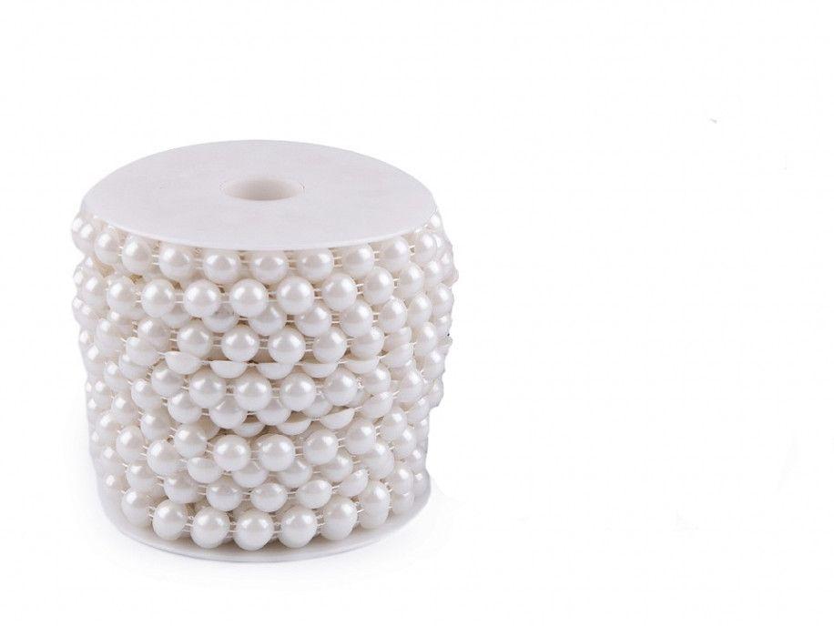 półperełki na sznurku 10mm białe perłowe