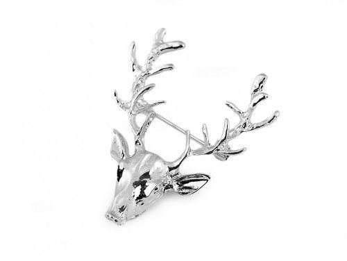 broszka jeleń srebrny