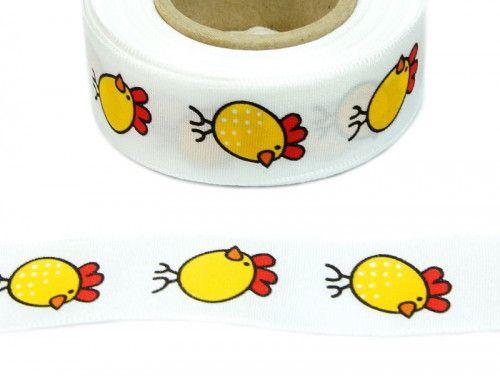 wstążka taftowa kurczaczki żółte