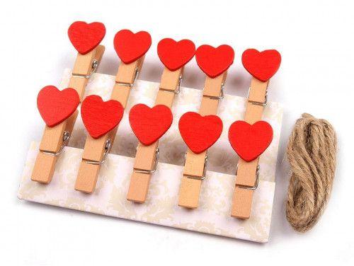 spinacze drewniane z sercem 12 sztuk