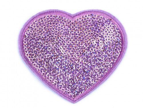 Aplikacja duże serce z cekinami liliowe