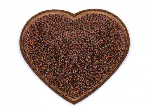 Aplikacja duże serce z cekinami brązowe