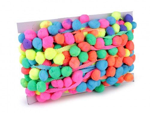 pomponiki na taśmie kolorowe duże