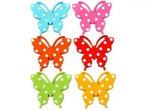 ozdoba drewniana kolorowe motyle 6szt z przylepcem