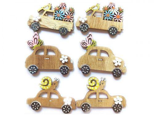 ozdoba drewniana auta 6szt z przylepcem