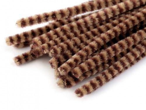 drut pluszowy prążkowany brązowy op.10