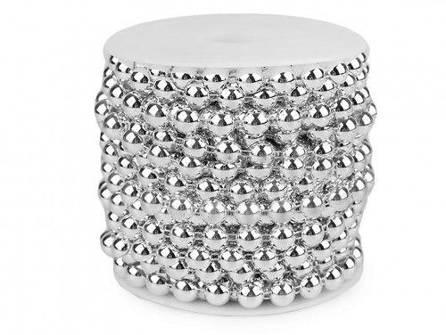 półperełki na sznurku 10 mm srebrne