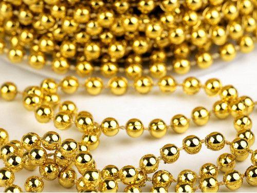 koraliki na sznurku 5 mm, złote