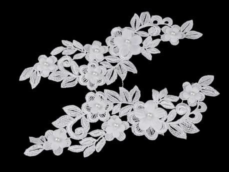 wstawka dekoltowa koronkowa z perełkami 3D biała-2 szt.