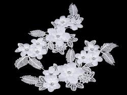 wstawka dekoltowa koronkowa z kamyczkami 3D biała-2 szt.