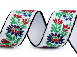 guma 40 mm z nadrukiem folk- biała