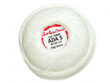 Kordonek ADA 5 40x6 kol. 0400 biały 50g 205m