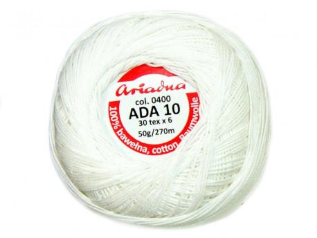 Kordonek ADA 10 30x6 kol. 0400 biały 50g 270m