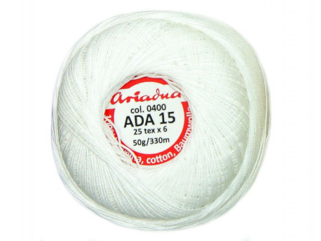 Kordonek ADA 15 25x6 kol. 0400 biały 50g 330m