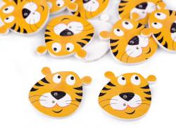 Guzik drewniany tygrys- 3 sztuki