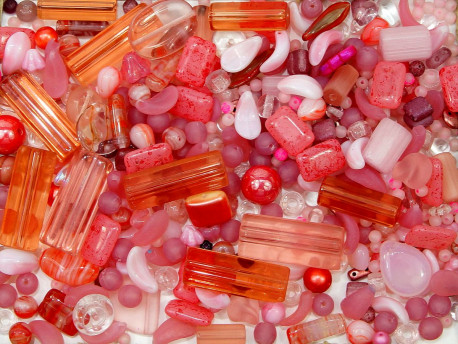 koraliki szklane 150 gram - mix różowy