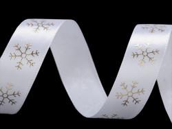 wstążka satynowa 20mm płatki śniegu złote