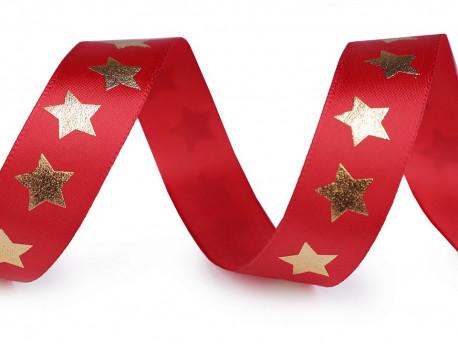 wstążka satynowa 20mm czerwona w złote gwiazdy