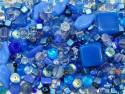 koraliki szklane 150 gram - mix błękitny