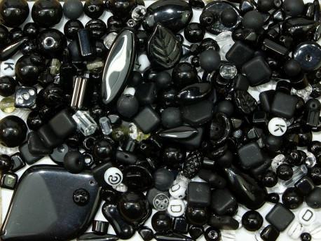 koraliki szklane 150 gram - mix czarny