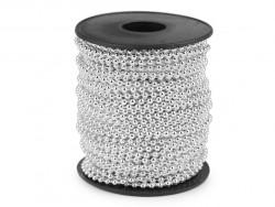 koraliki na sznurku 3mm srebrne