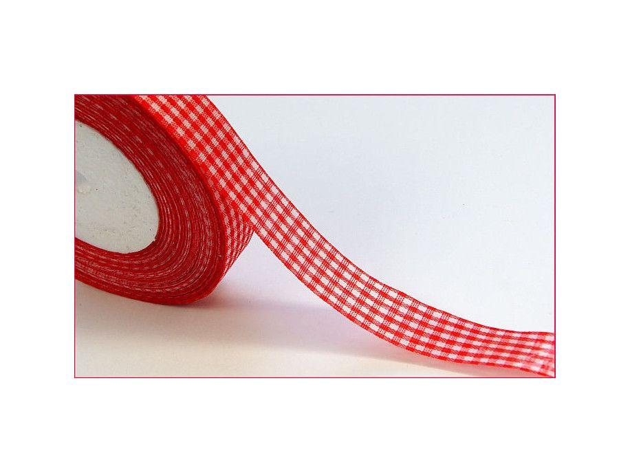 wstążka ozdobna kratka czerwona