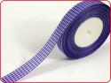 wstążka ozdobna kratka fioletowa