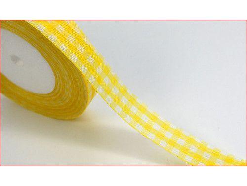 wstążka ozdobna kratka żółta