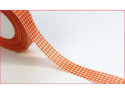 wstążka ozdobna kratka pomarańczowa