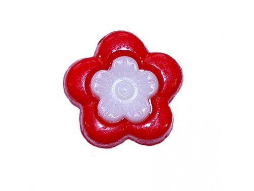Guziczek dziecięcy kwiatek czerwony