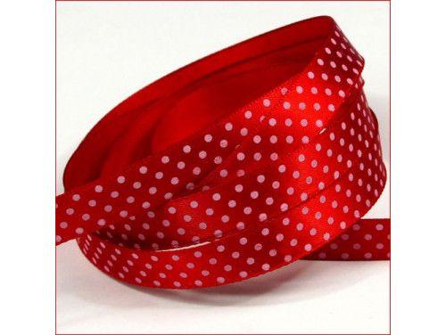 wstążka satynowa w kropki czerwona