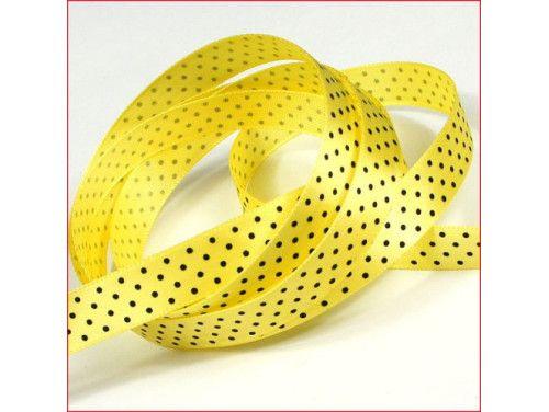 wstążka satynowa w kropki żółta