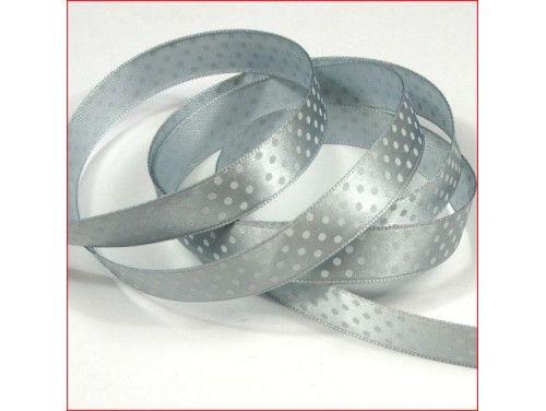 wstążka satynowa w kropki srebrna