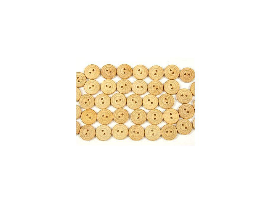Guzik drewniany 15mm 2 rowki