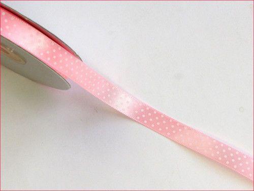 wstążka satynowa w kropki różowa