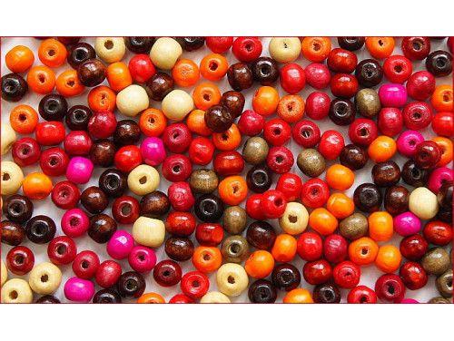 koraliki drewniane 6-8 mm mix