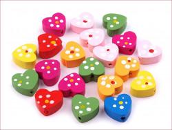 koraliki drewniane serca