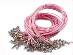sznurek bawełniany wosk. różowy z zapięciem