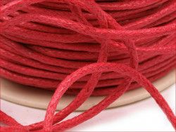 sznurek bawełniany woskowany 2mm, czerwony
