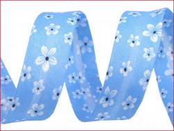 lamówka ozdobna w kwiatki niebieska