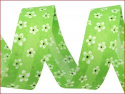 lamówka ozdobna w kwiatki zielona