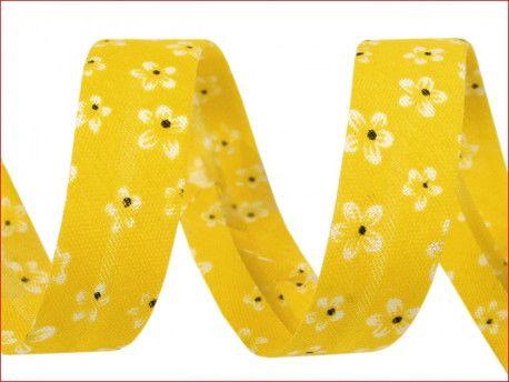 lamówka ozdobna w kwiatki żółta