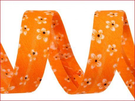 lamówka ozdobna w kwiatki pomarańczowa