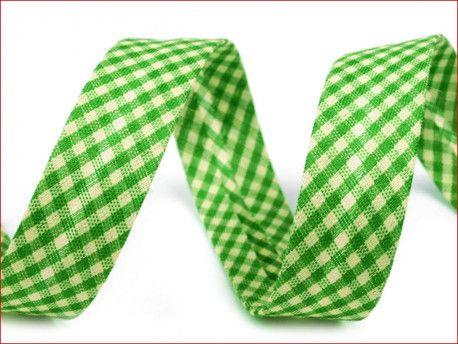 lamówka ozdobna w kratkę zielona